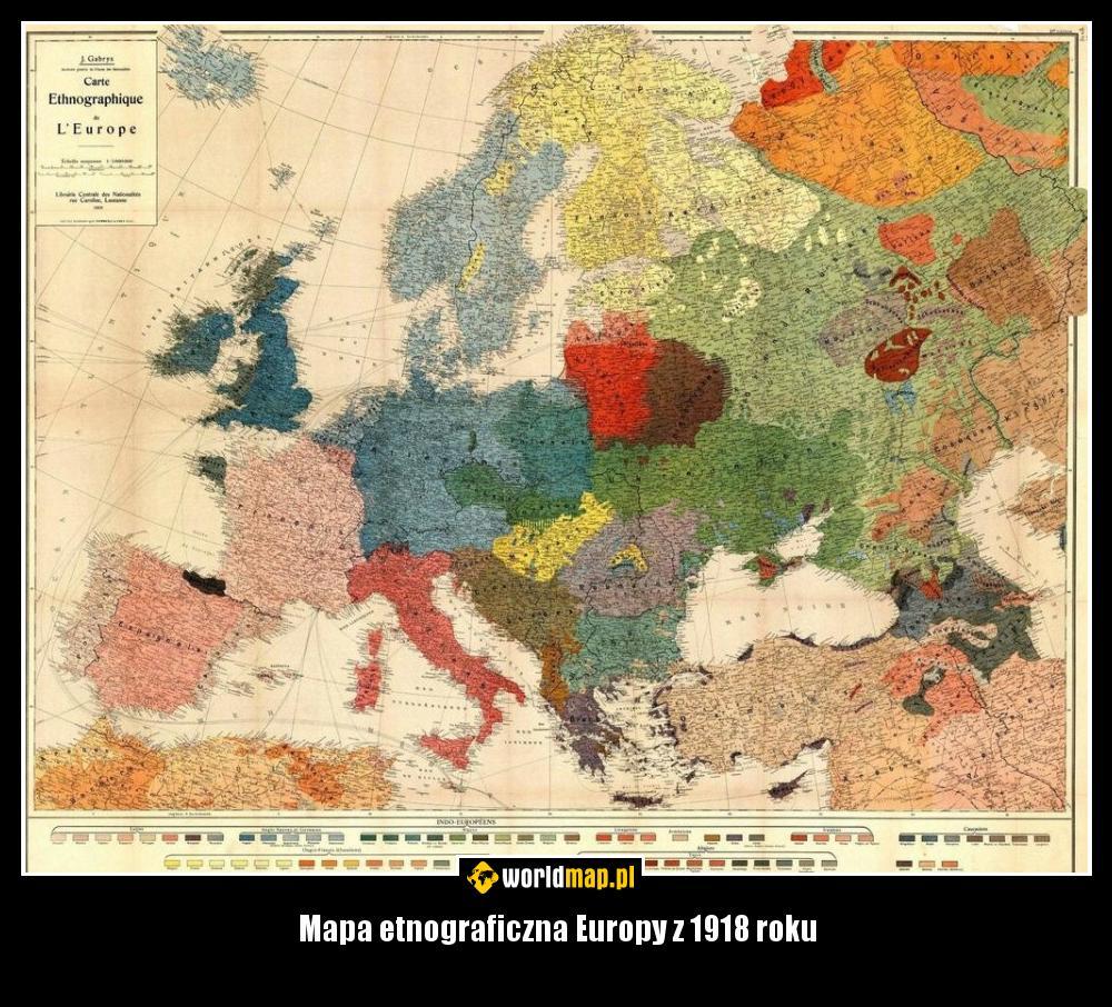 Mapa Etnograficzna Europy Z 1918 Roku Worldmap Pl