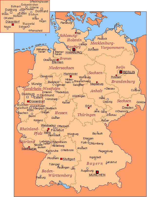 Mapa krajów związkowych Niemiec
