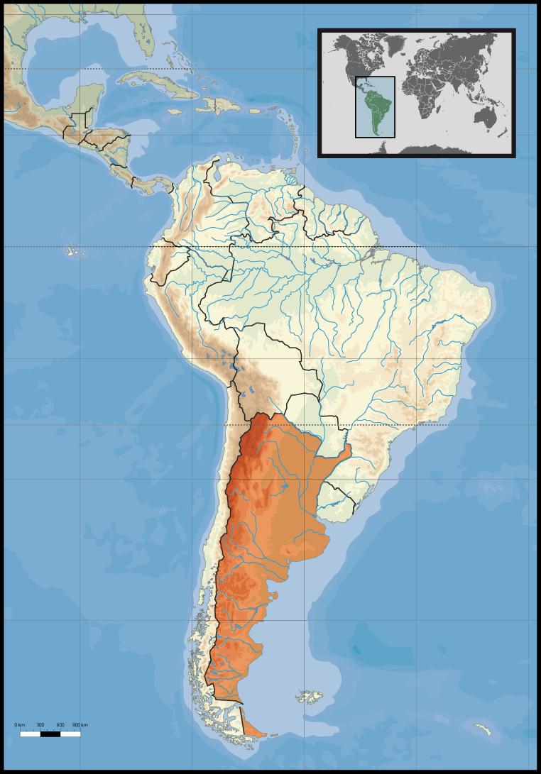 Lokalizacja Argentyny na mapie Ameryki Południowej