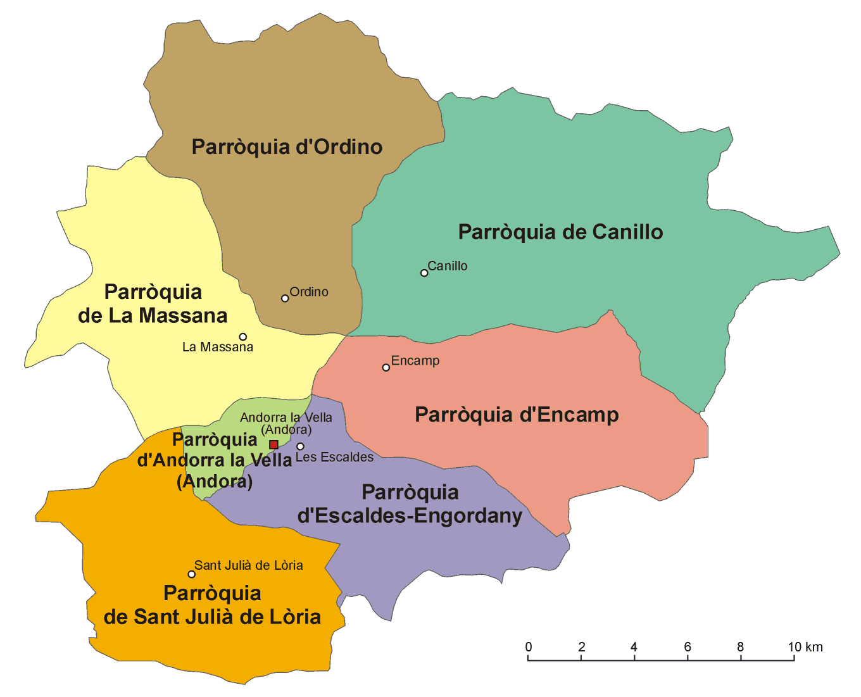 Mapa administracyjna Andory