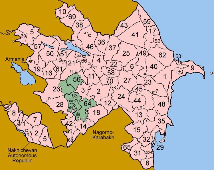 Mapa administracyjna Azerbejdżanu