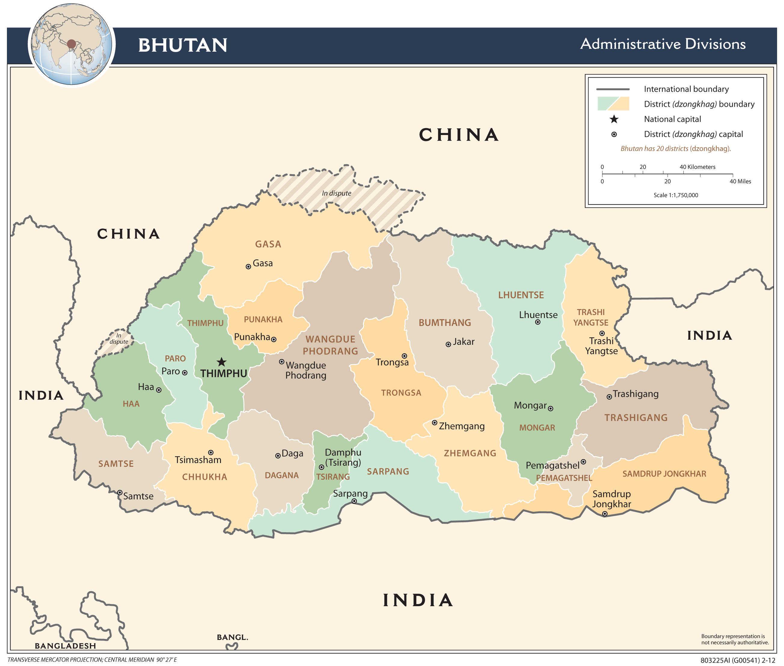 Mapa administracyjna Bhutanu