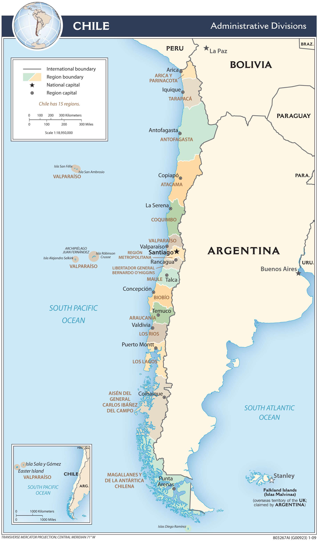 Mapa administracyjna Chile