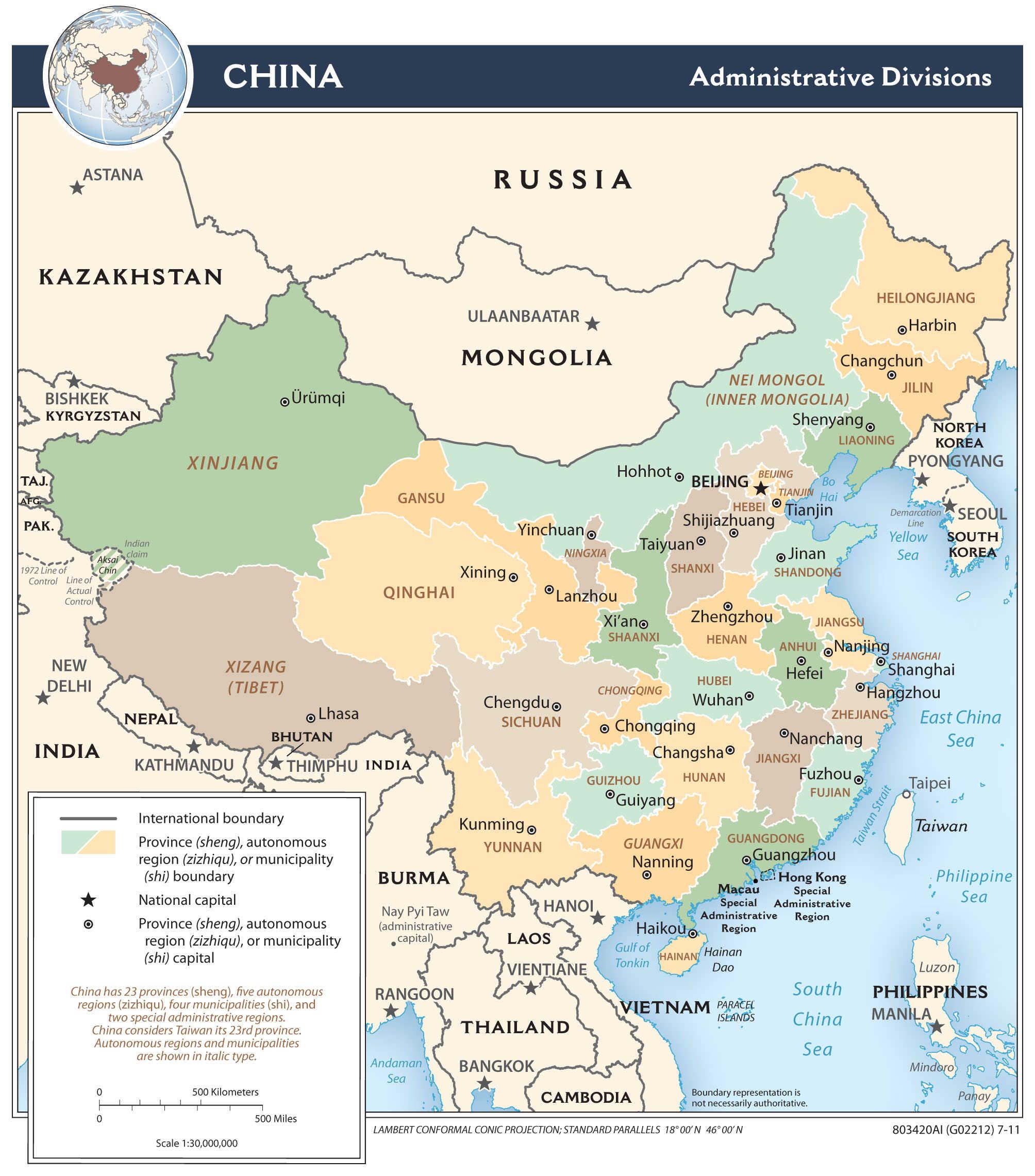 Mapa administracyjna Chin