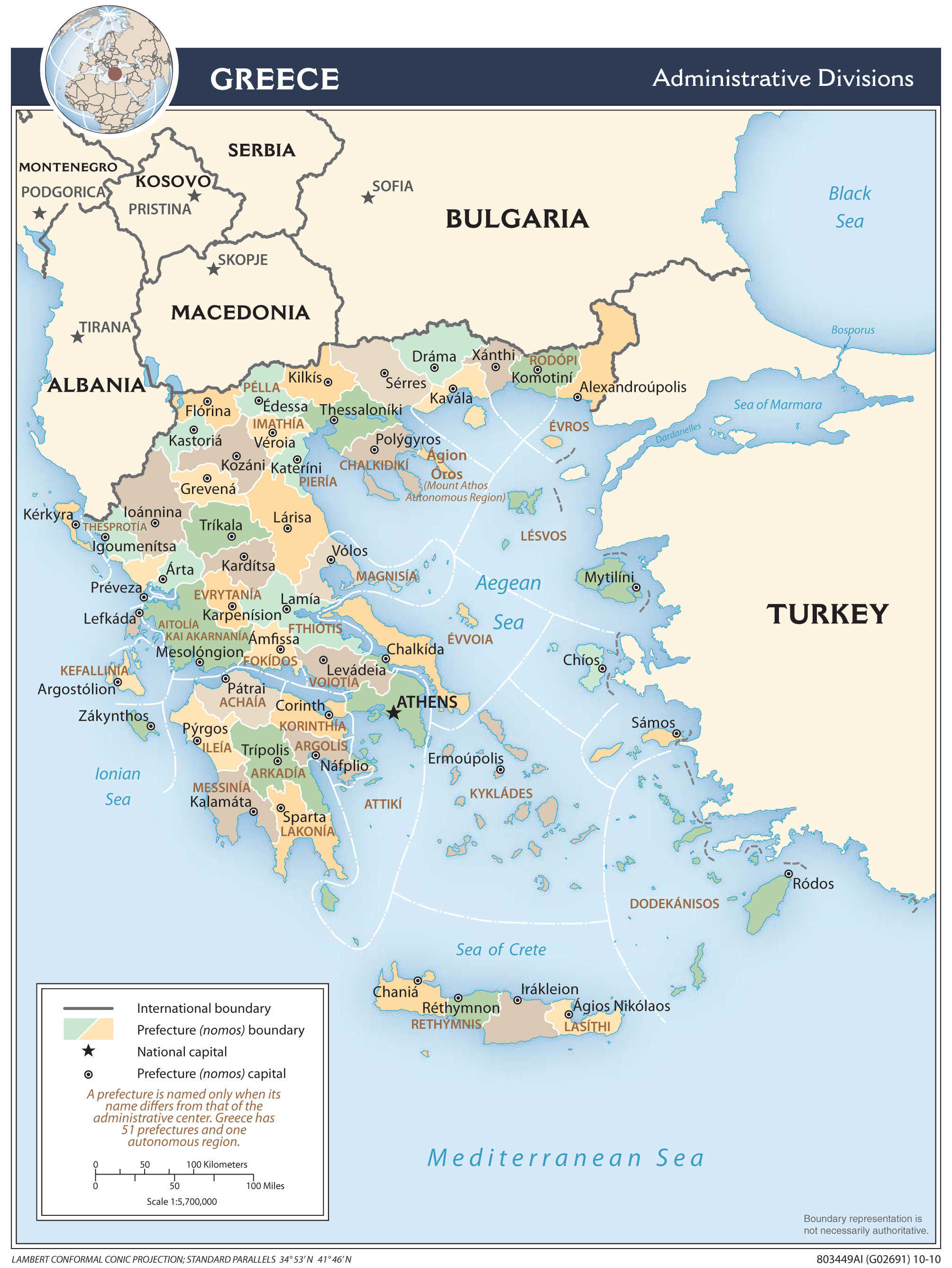 Mapa administracyjna Grecji