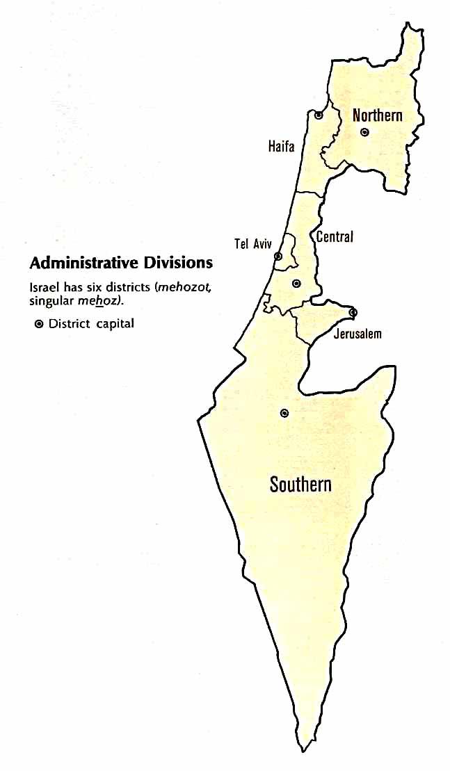 Mapa administracyjna Izraela