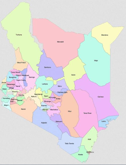 Mapa administracyjna Kenii