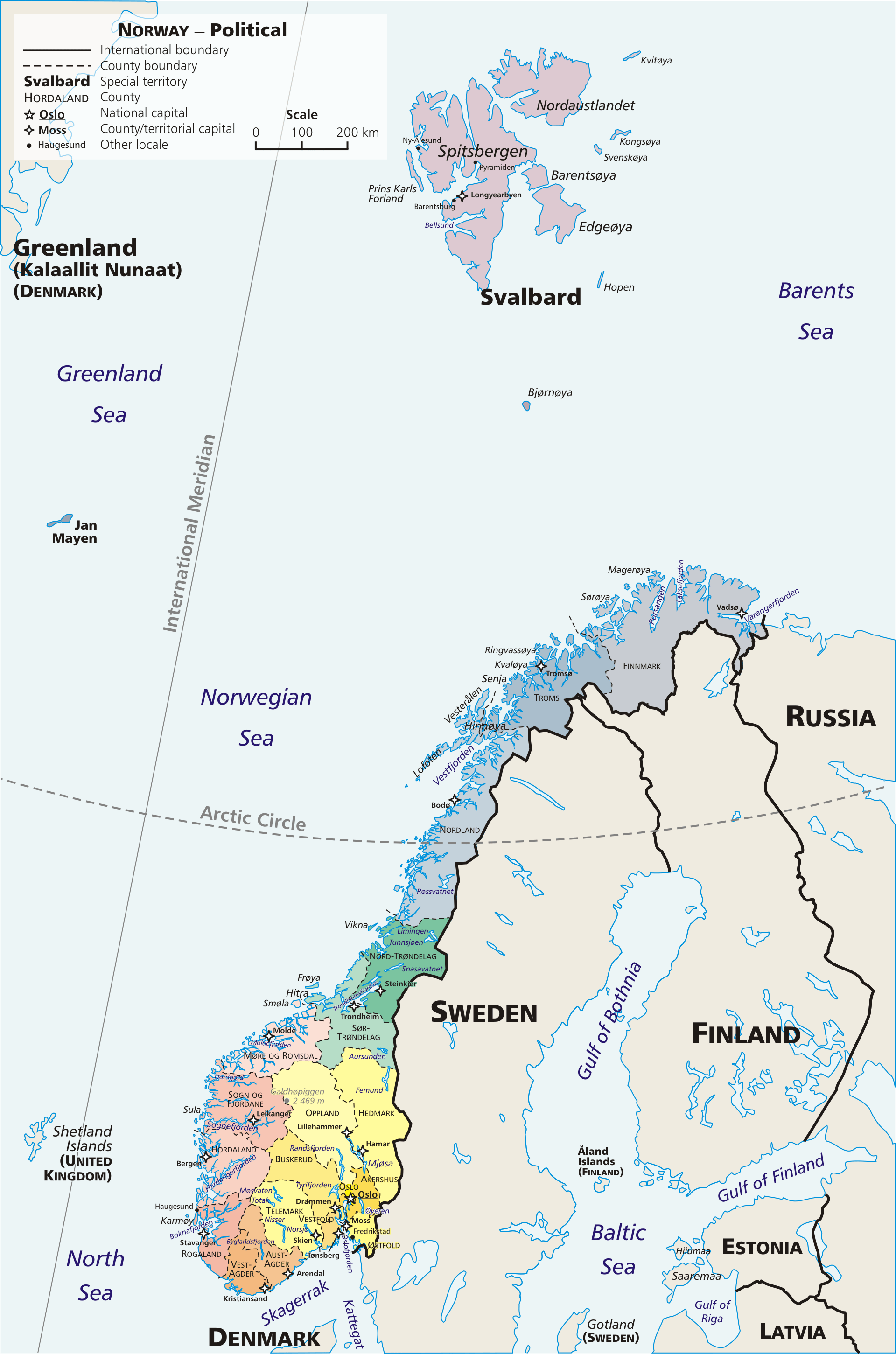 Mapa administracyjna Norwegii