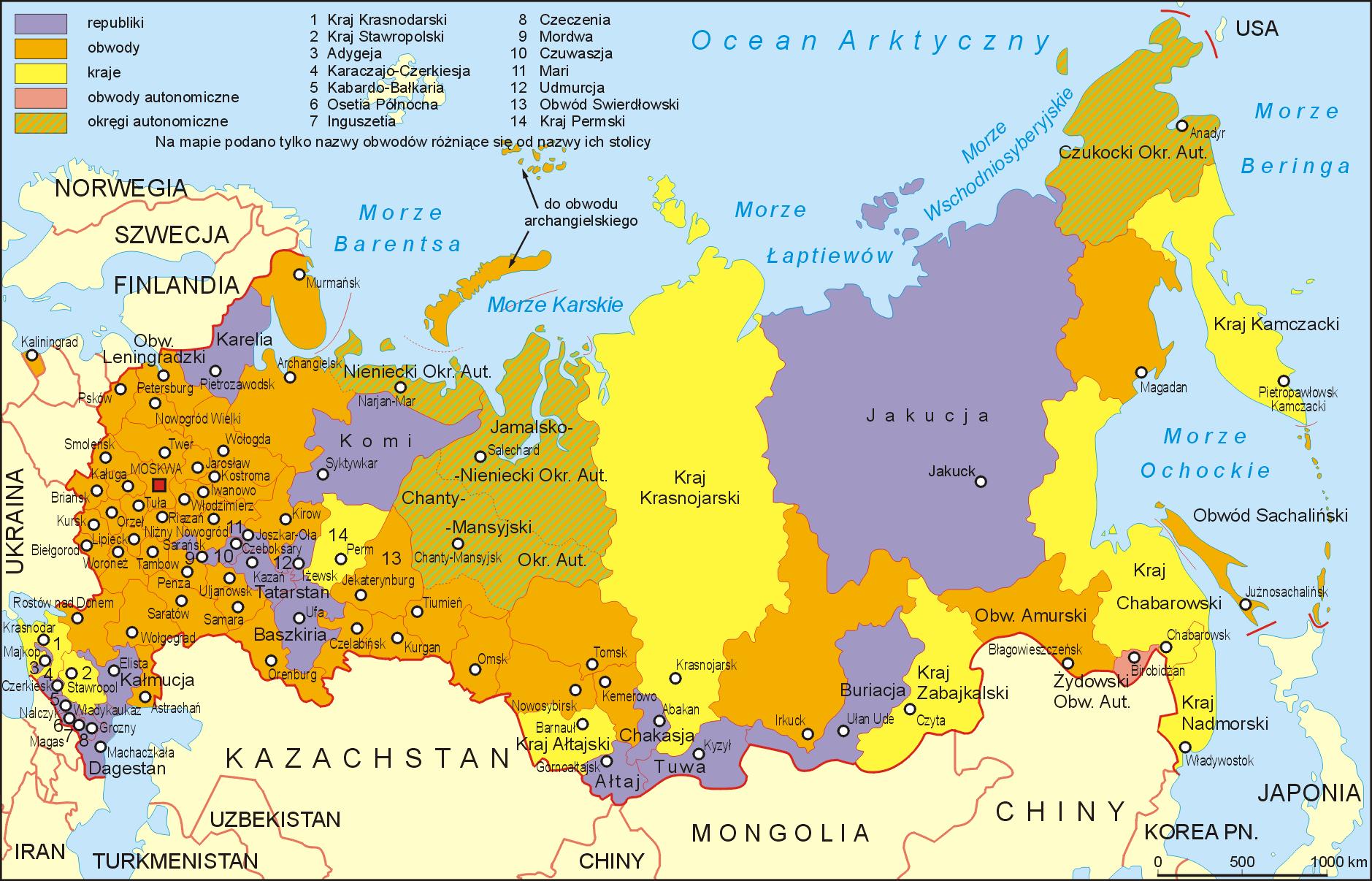 Mapa administracyjna Rosji