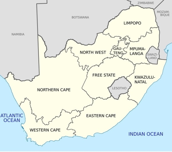 Mapa administracyjna RPA