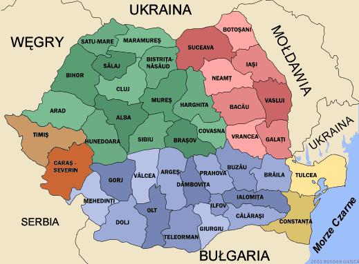 Mapa administracyjna Rumunii