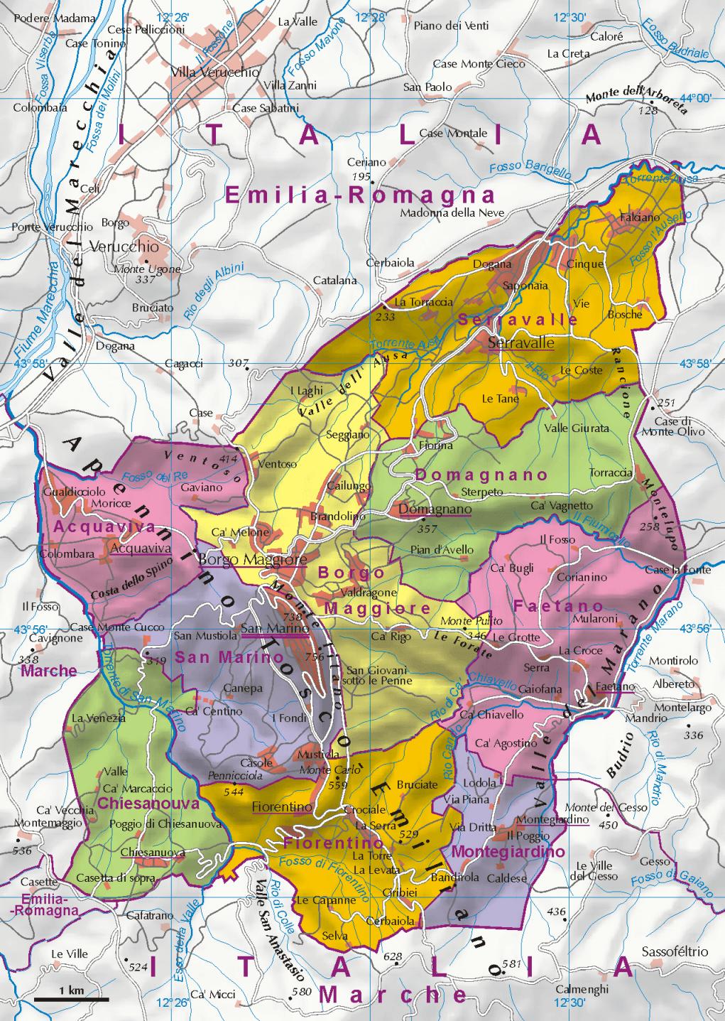 Mapa administracyjna San Marino