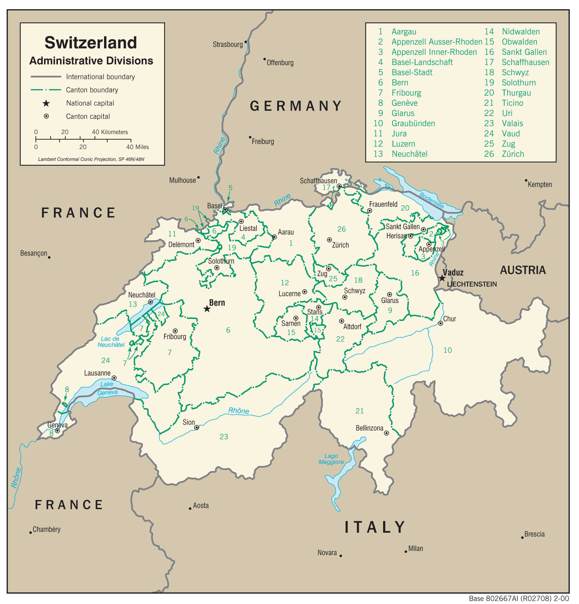 Mapa administracyjna Szwajcarii