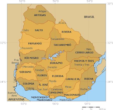Mapa administracyjna Urugwaju