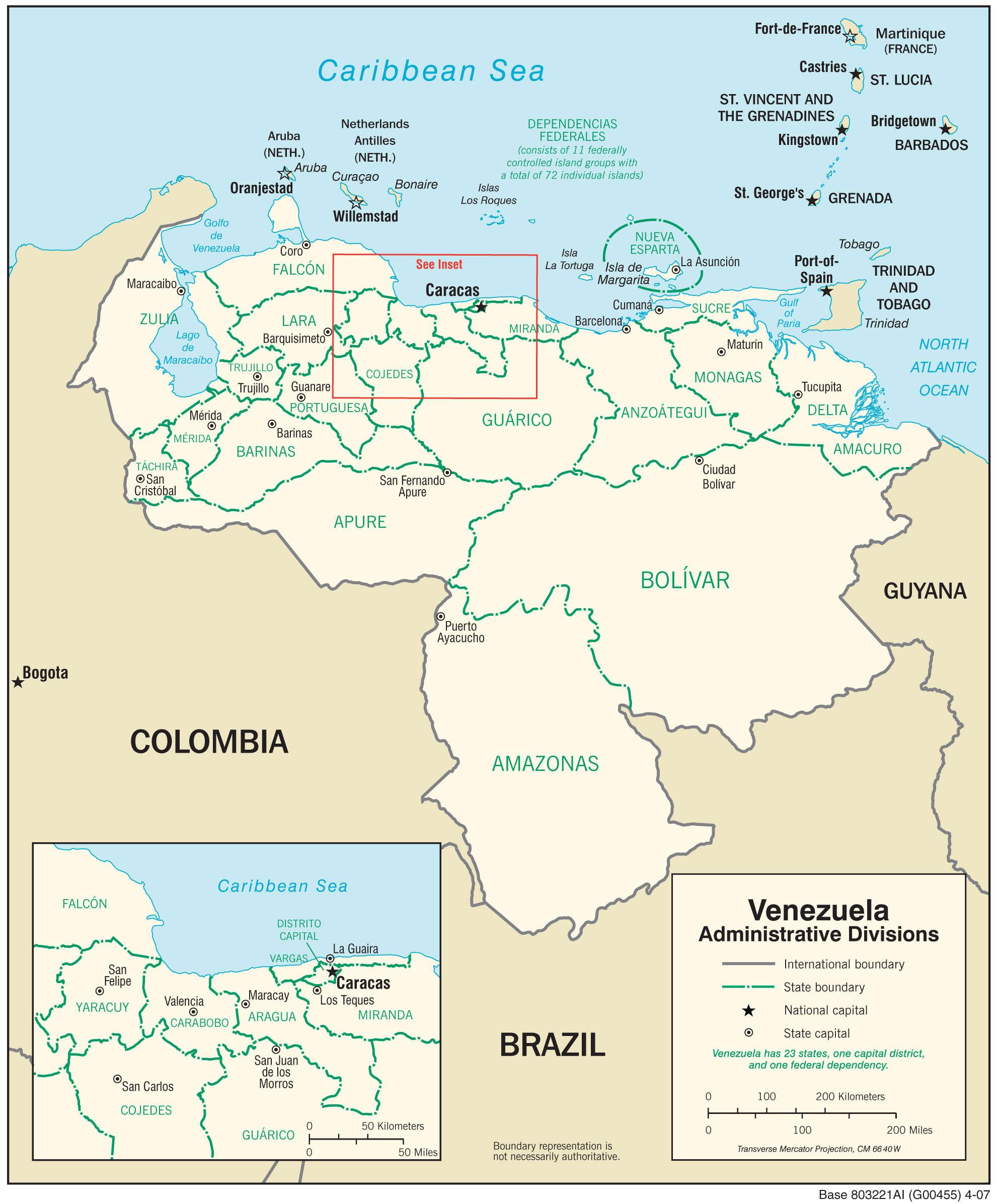 Mapa administracyjna Wenezueli