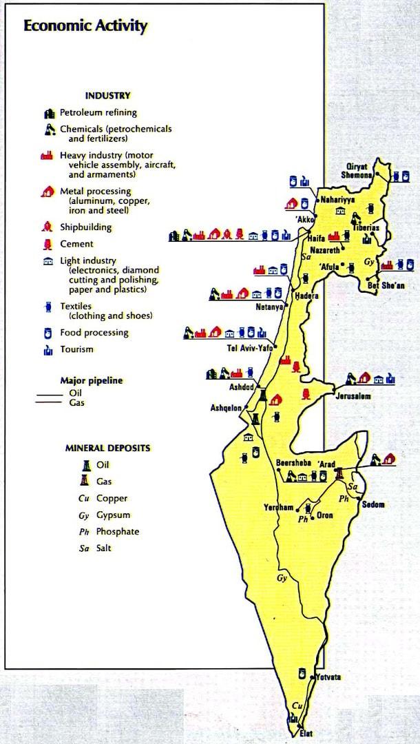 Mapa aktywności ekonomicznej Izraela