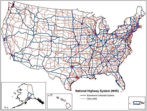 Mapa autostrad Stanów Zjednoczonych