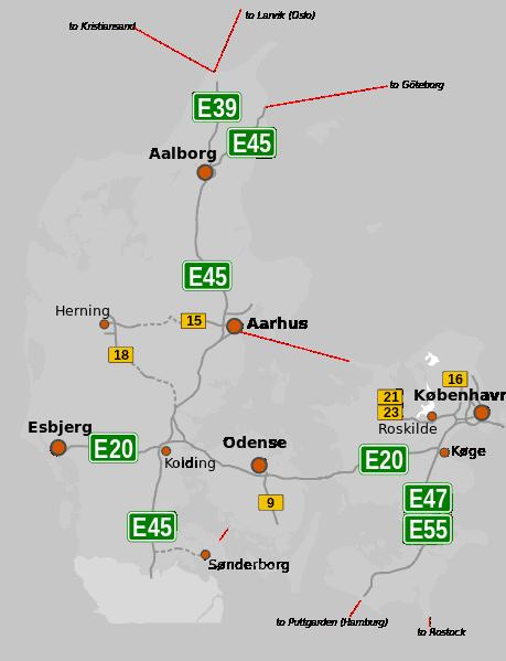 Mapa autostrad w Danii