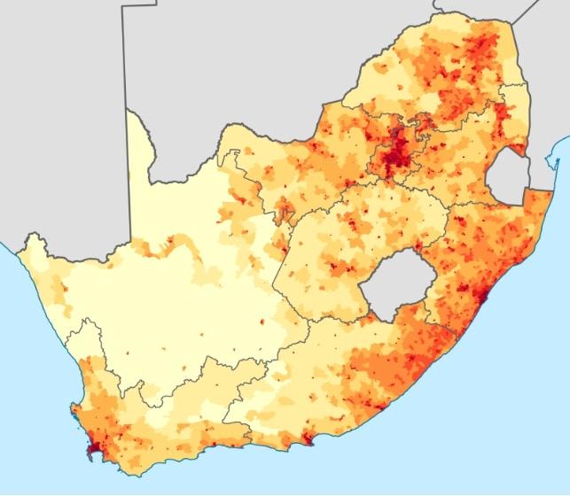 Mapa demograficzna RPA