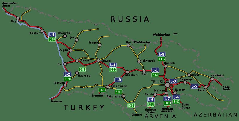 Mapa dróg krajowych w Gruzji