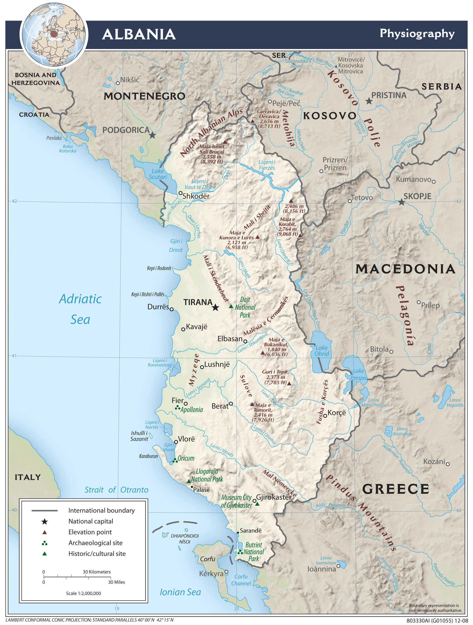 Mapa fizyczna Albanii