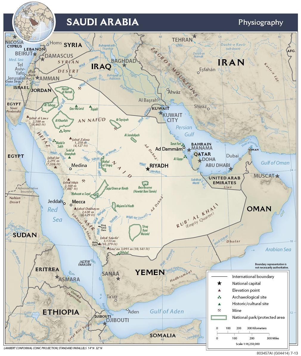 Mapa fizyczna Arabii Saudyjskiej