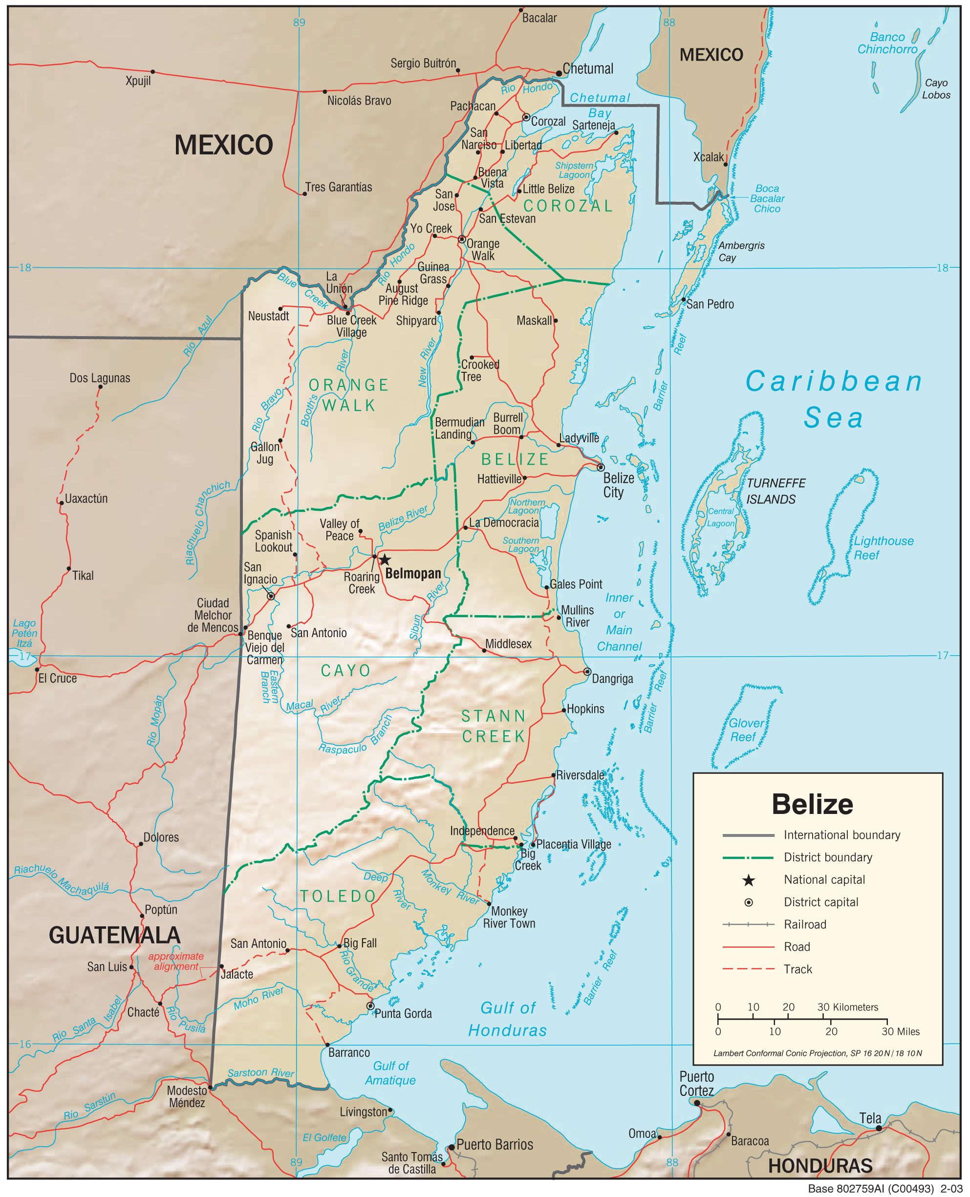 Mapa fizyczna Belize