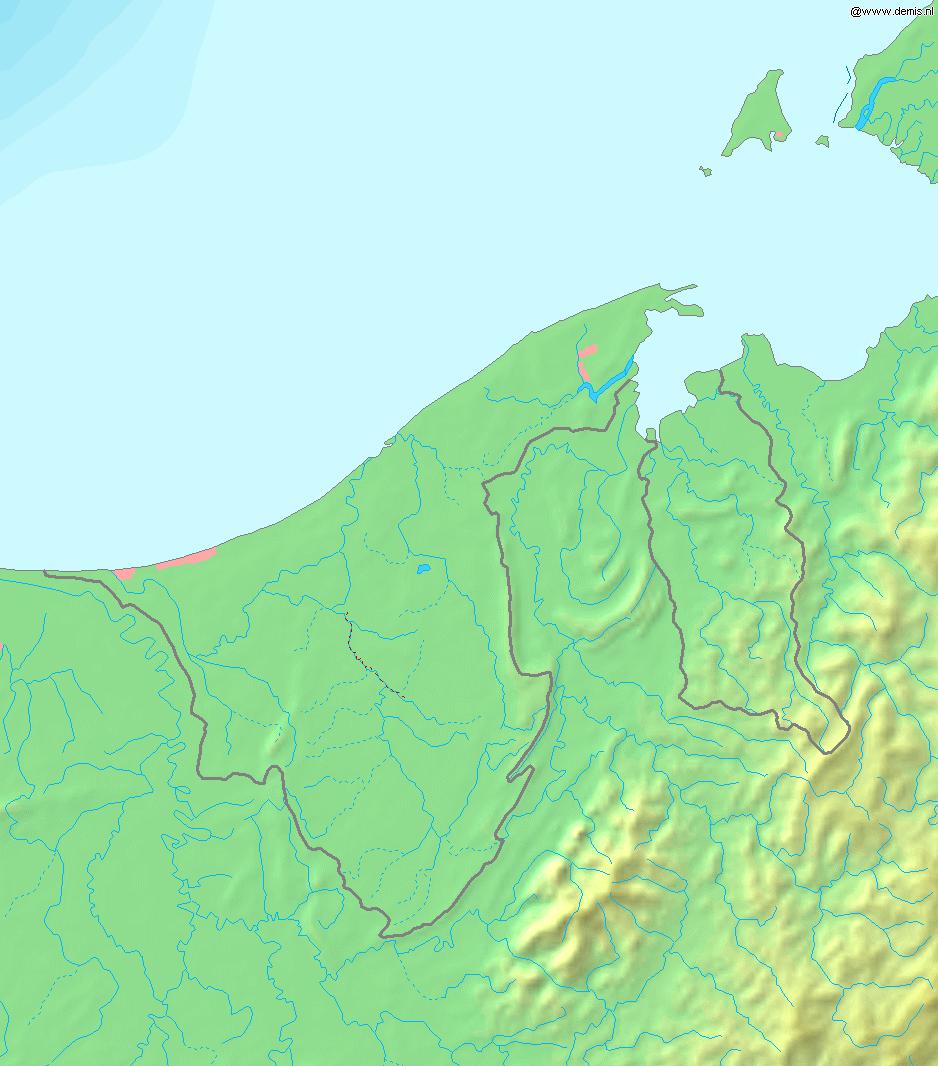 Mapa fizyczna Brunei