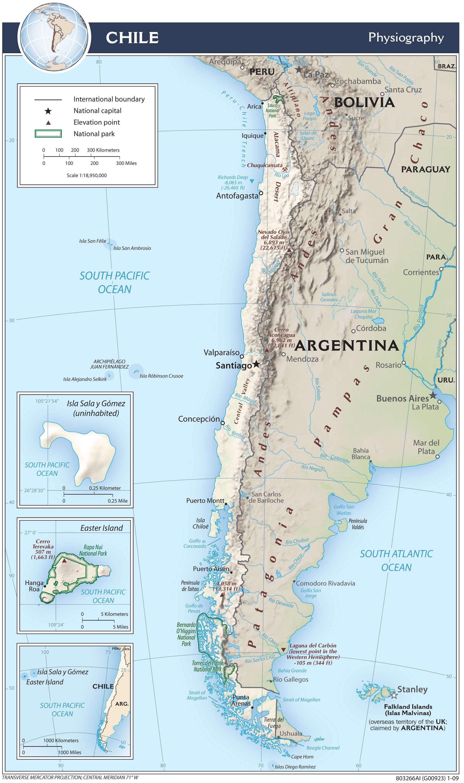 Mapa fizyczna Chile