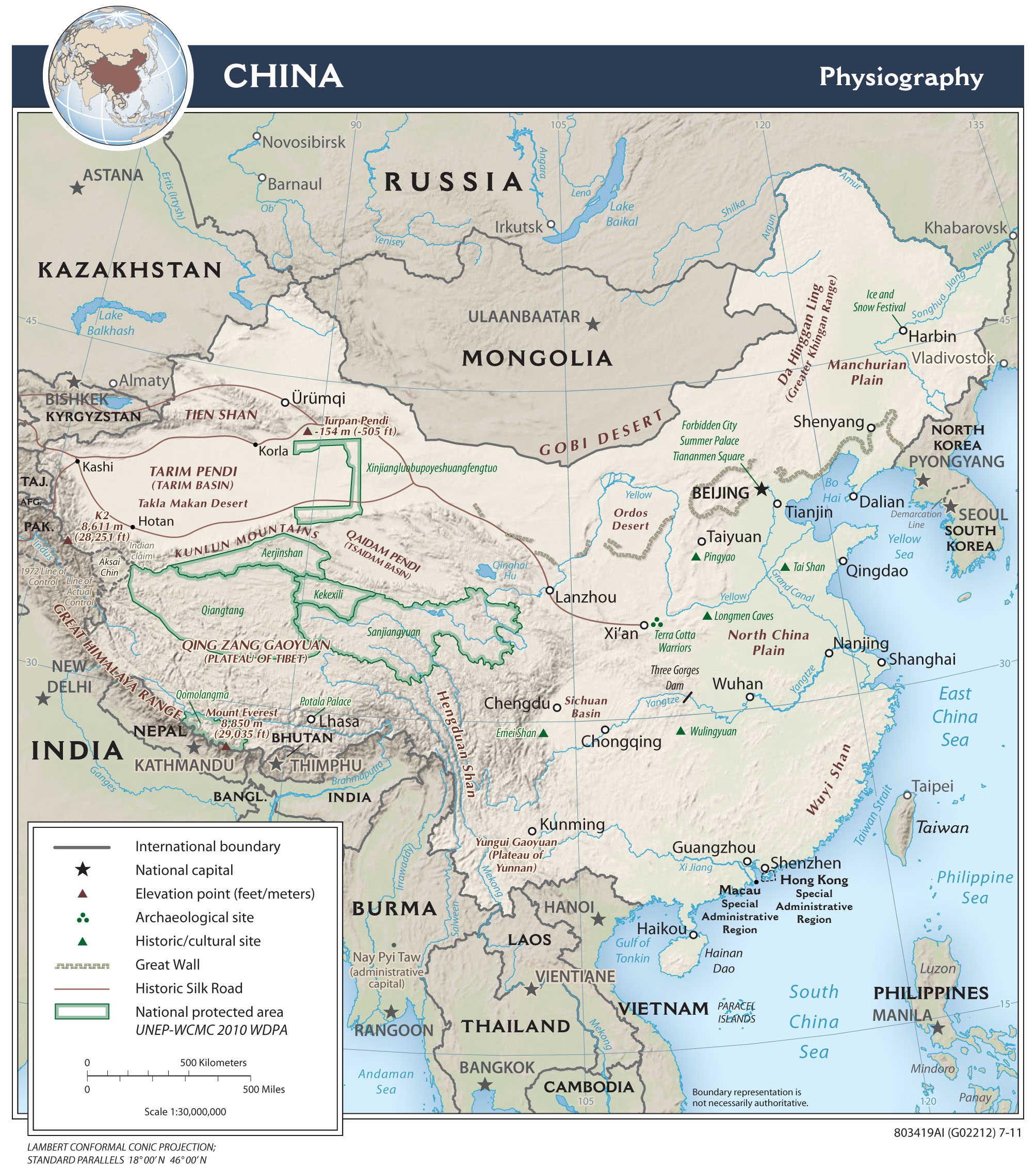 Mapa fizyczna Chin
