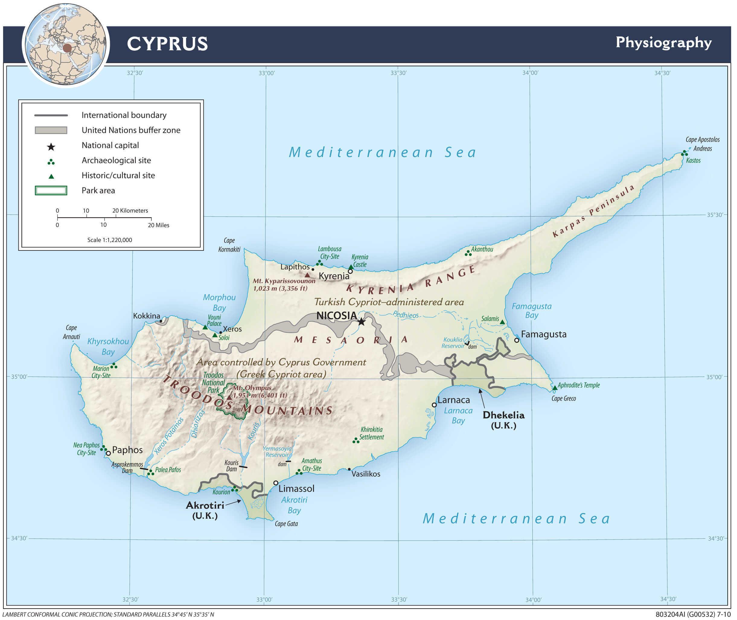Mapa fizyczna Cypru