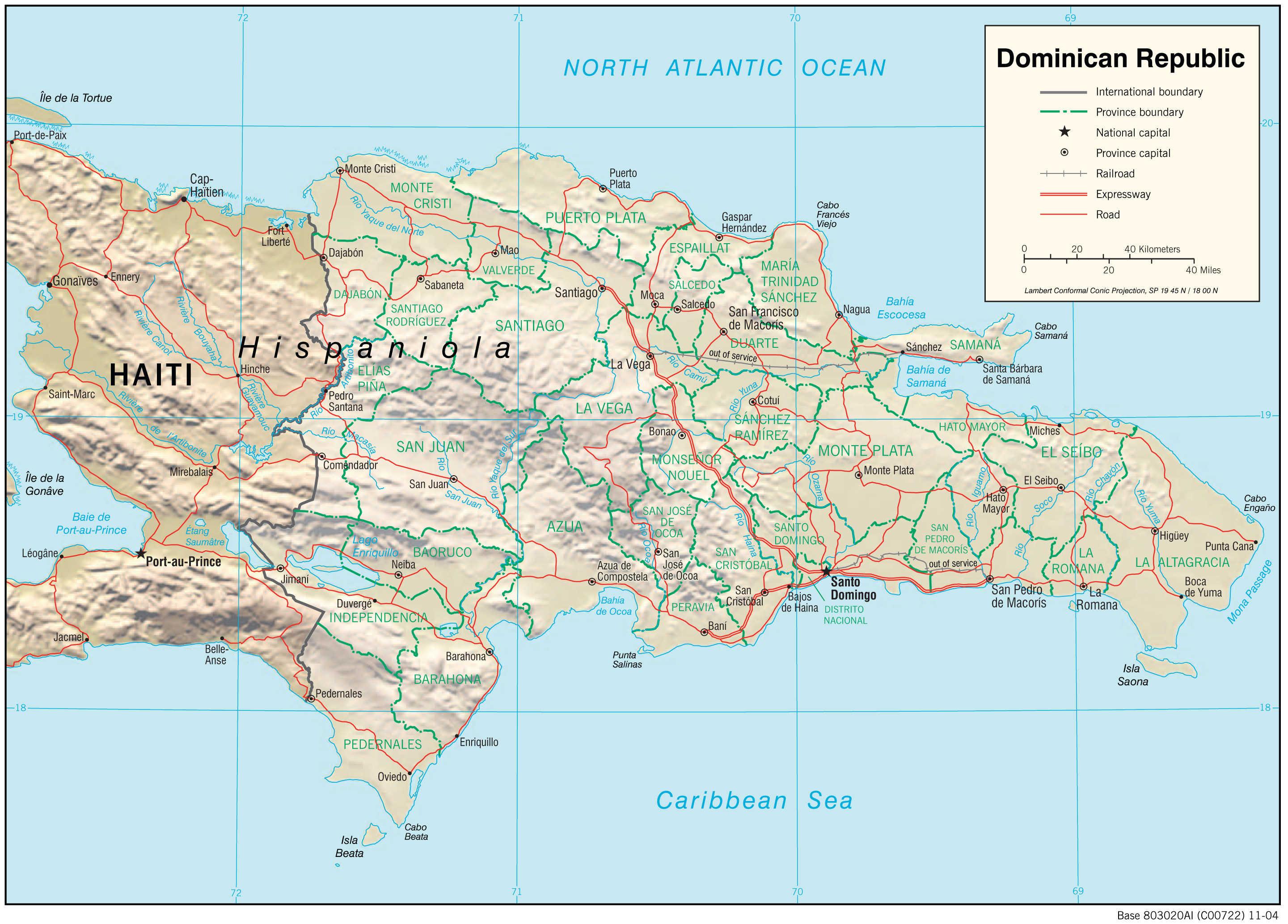 Mapa fizyczna Dominikany