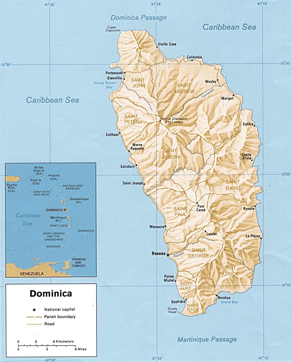 Mapa fizyczna Dominiki