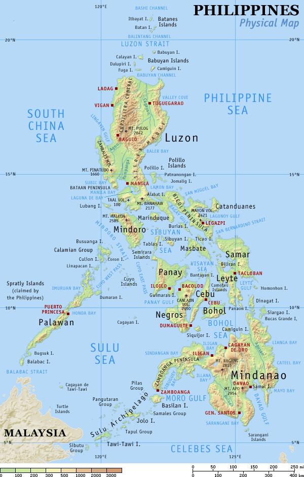 Mapa fizyczna Filipin