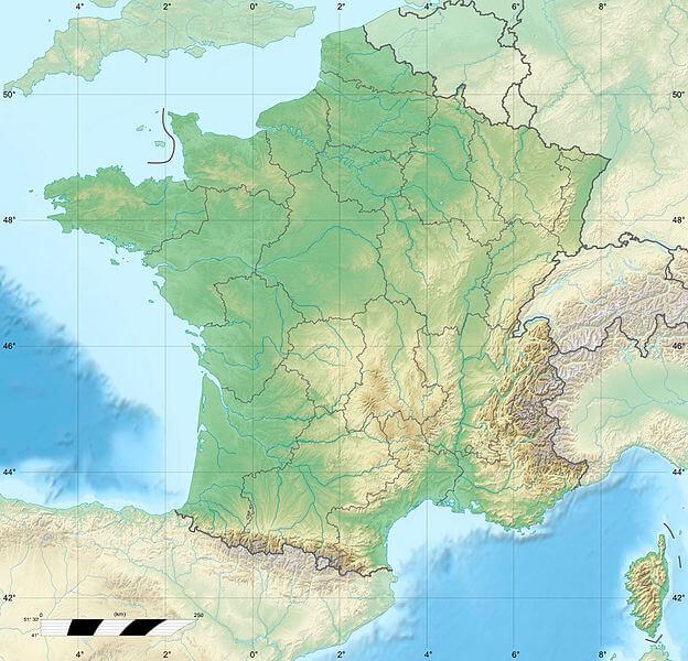 Mapa fizyczna Francji