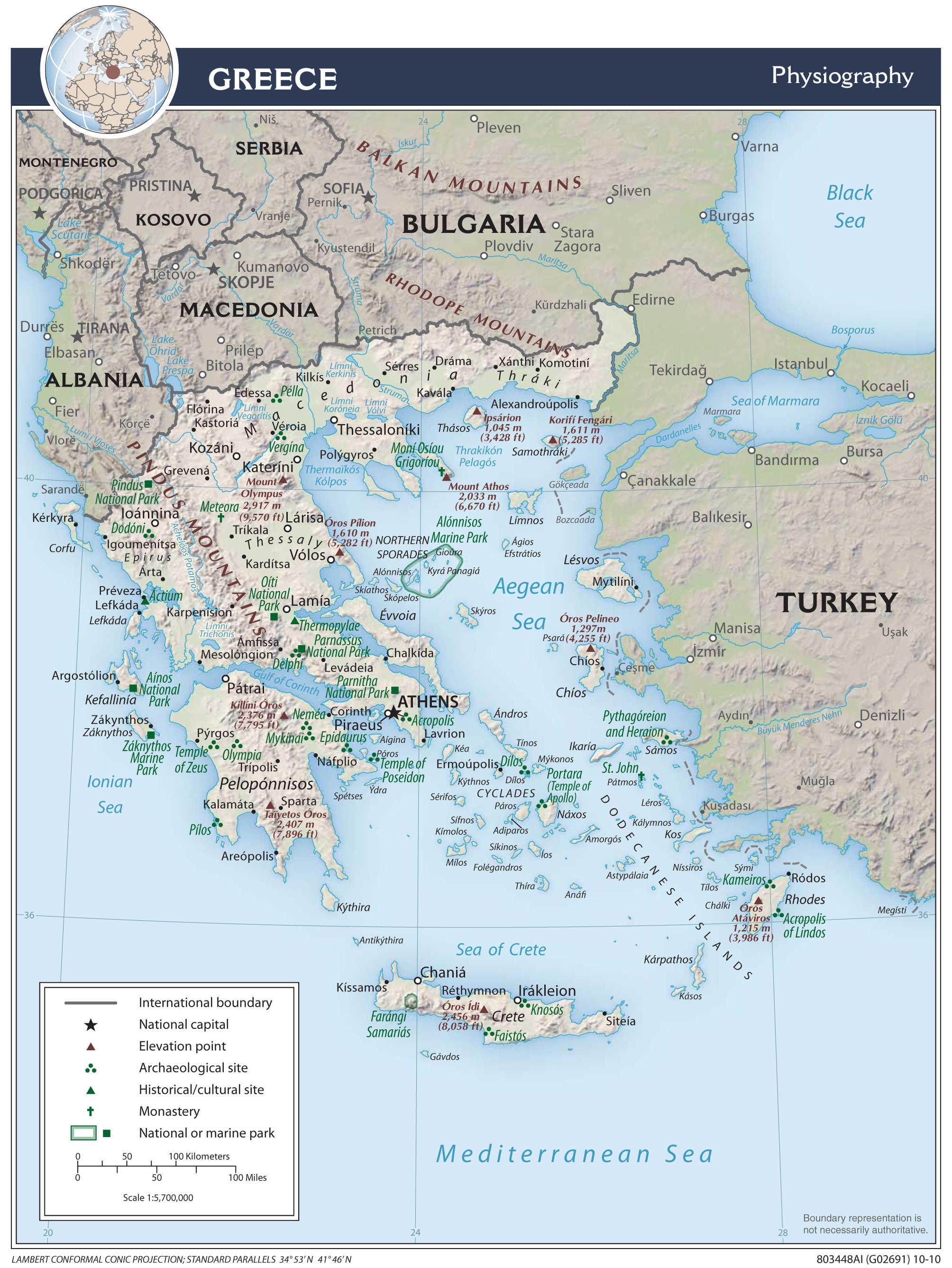 Mapa fizyczna Grecji
