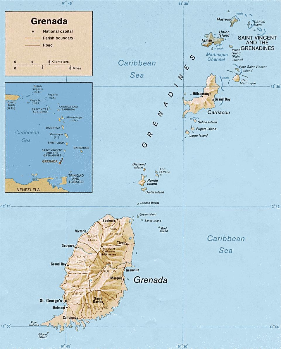 Mapa fizyczna Grenady