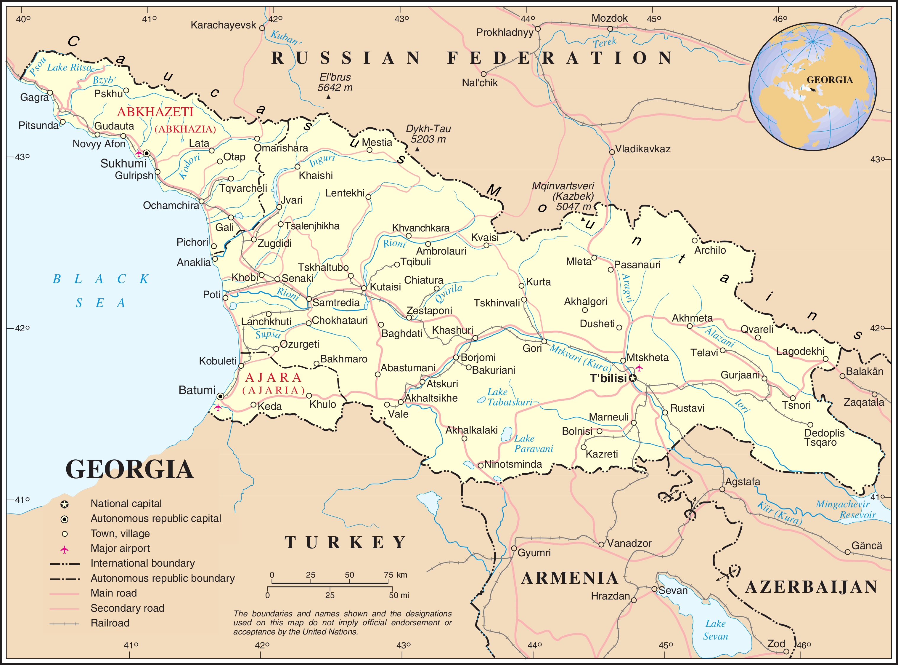 Mapa fizyczna Gruzji