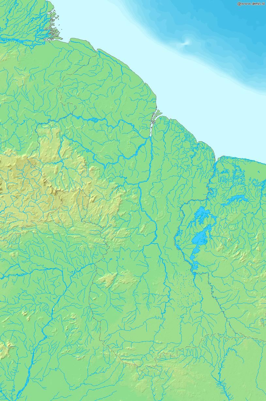 Mapa fizyczna Gujany