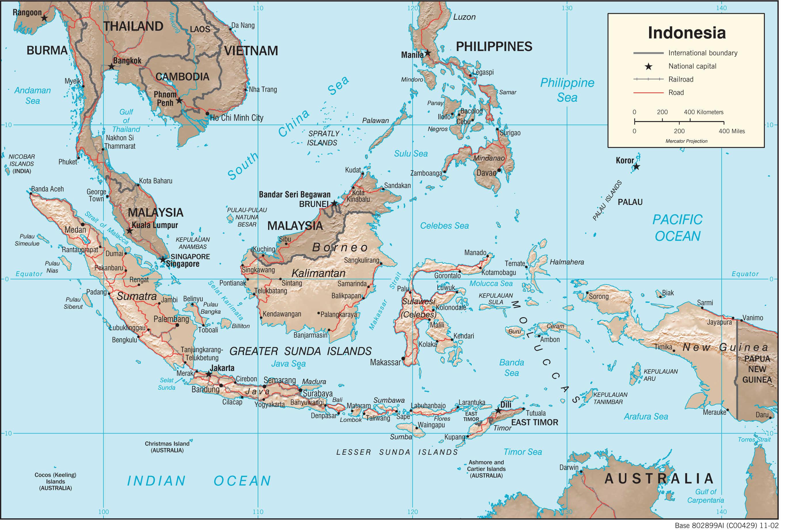 Mapa fizyczna Indonezji