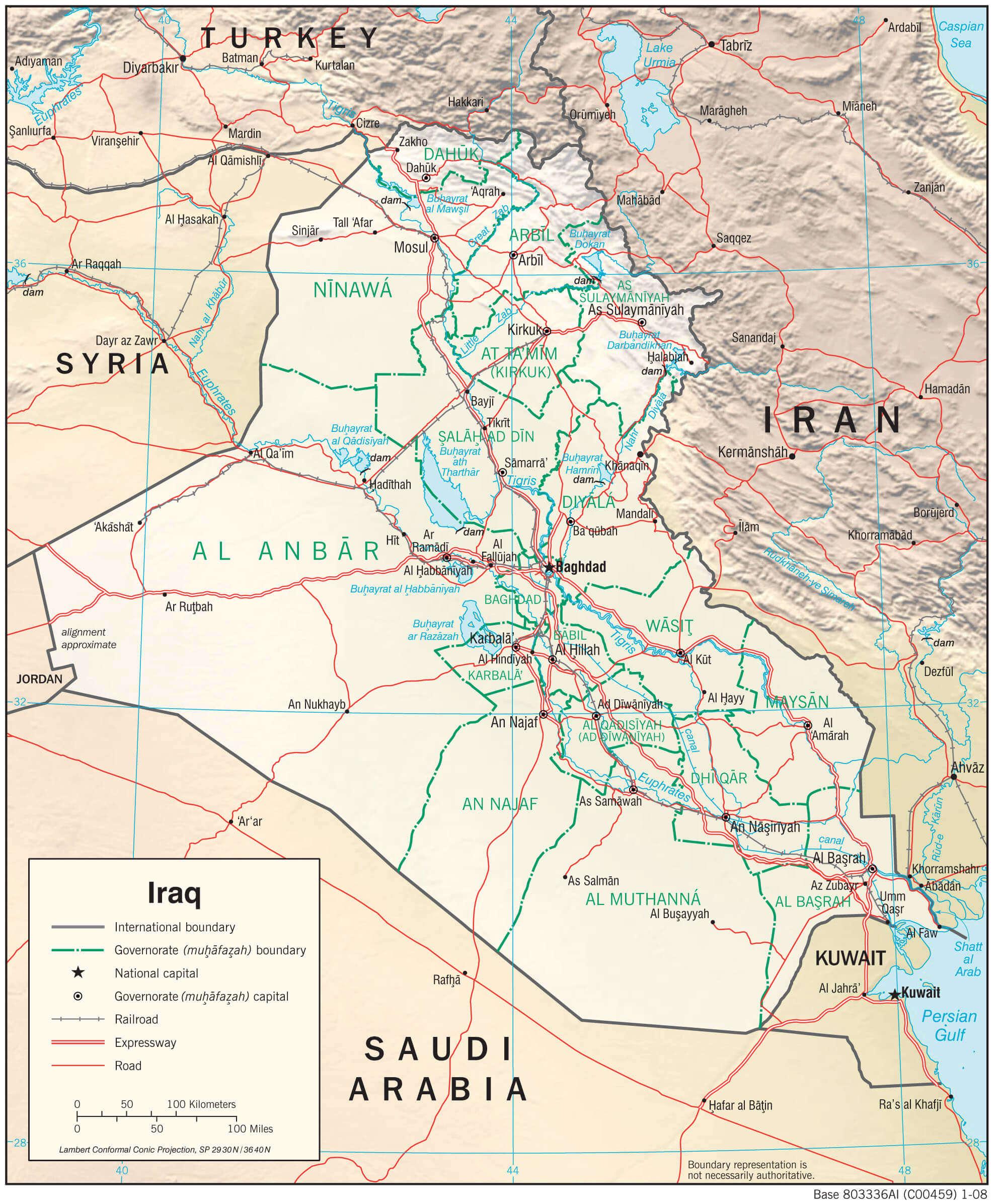 Mapa fizyczna Iraku