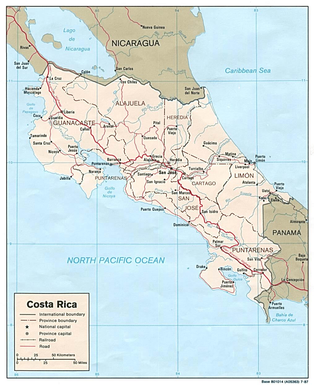 Mapa fizyczna Kostaryki