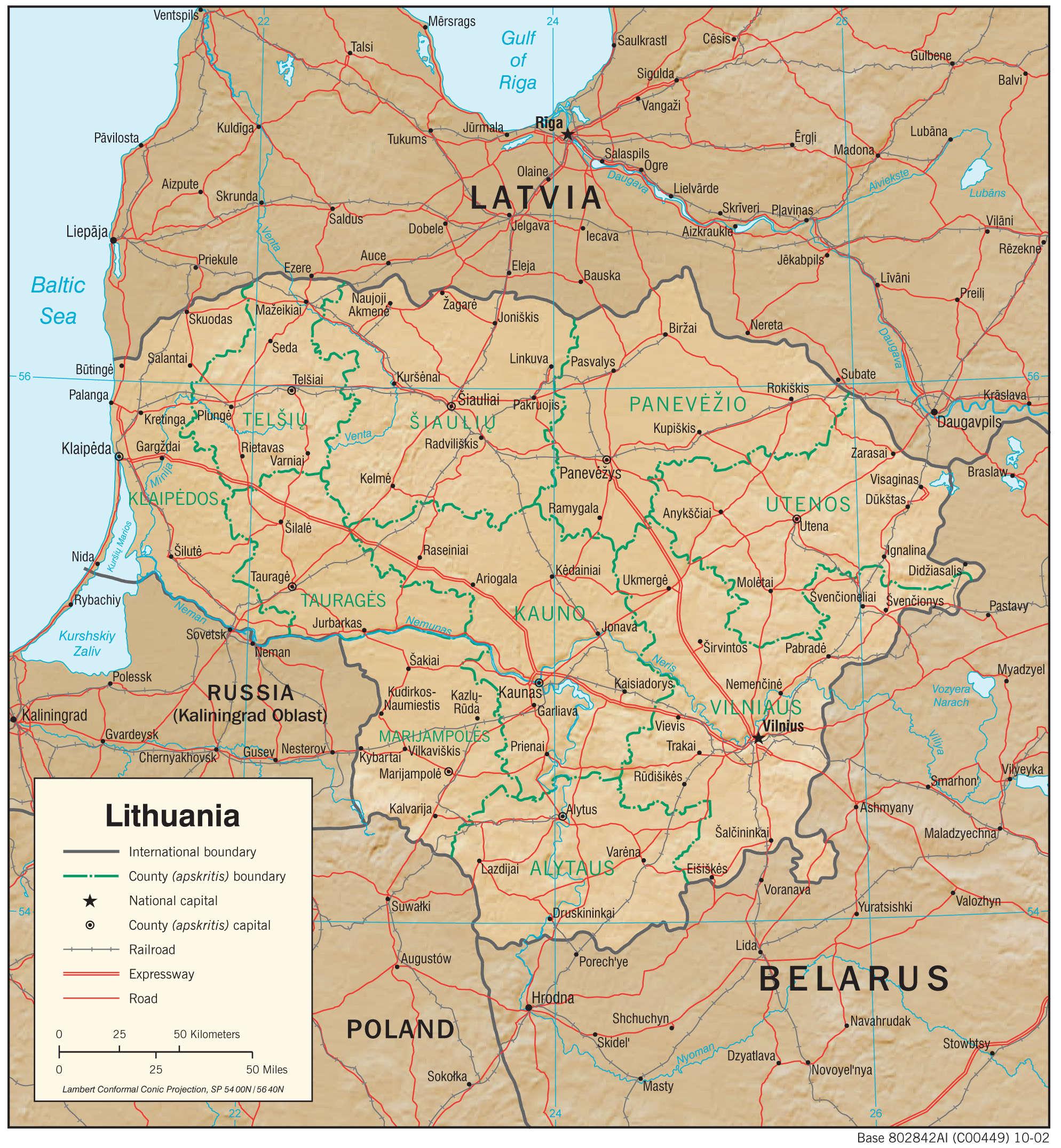 Mapa fizyczna Litwy
