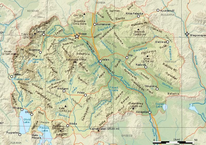 Mapa fizyczna Macedonii