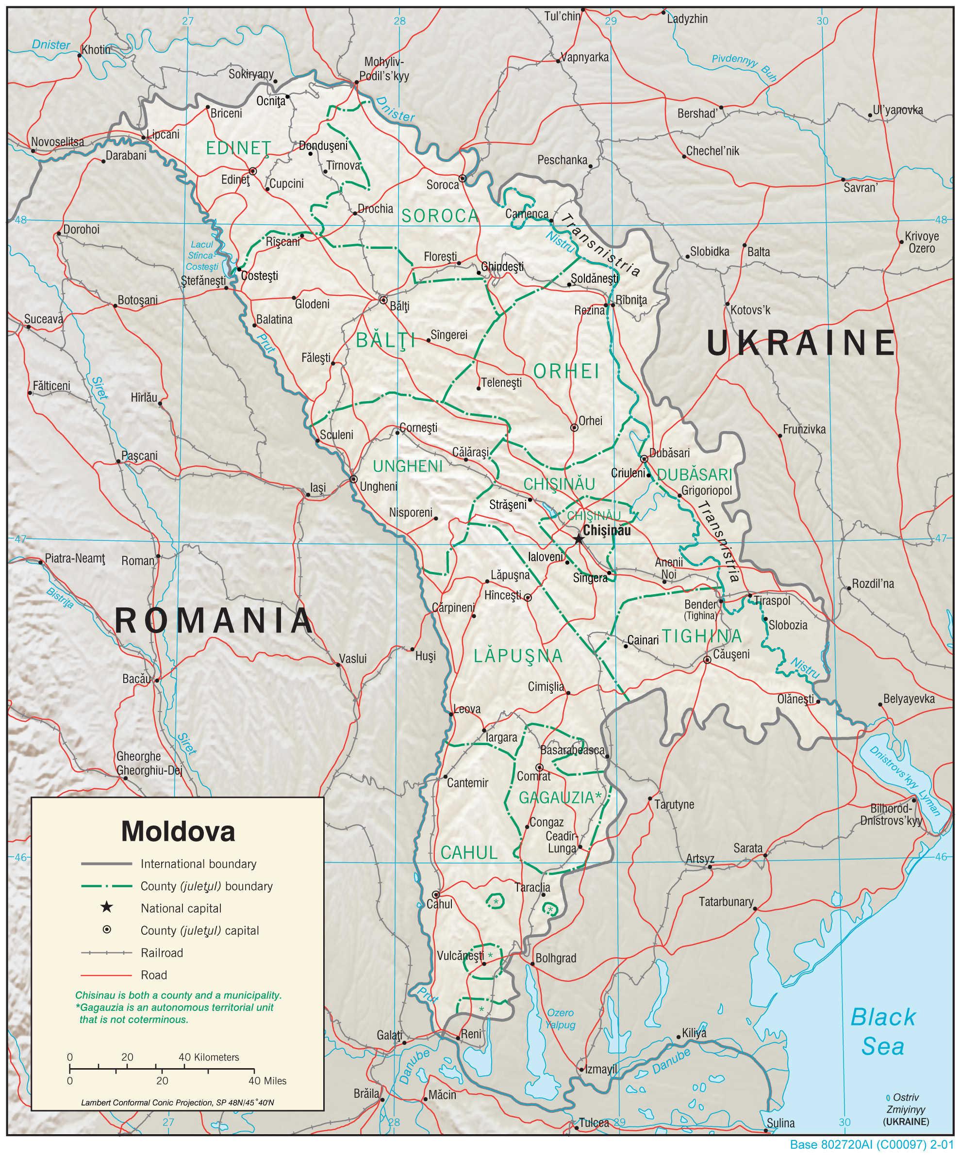Mapa fizyczna Mołdawii