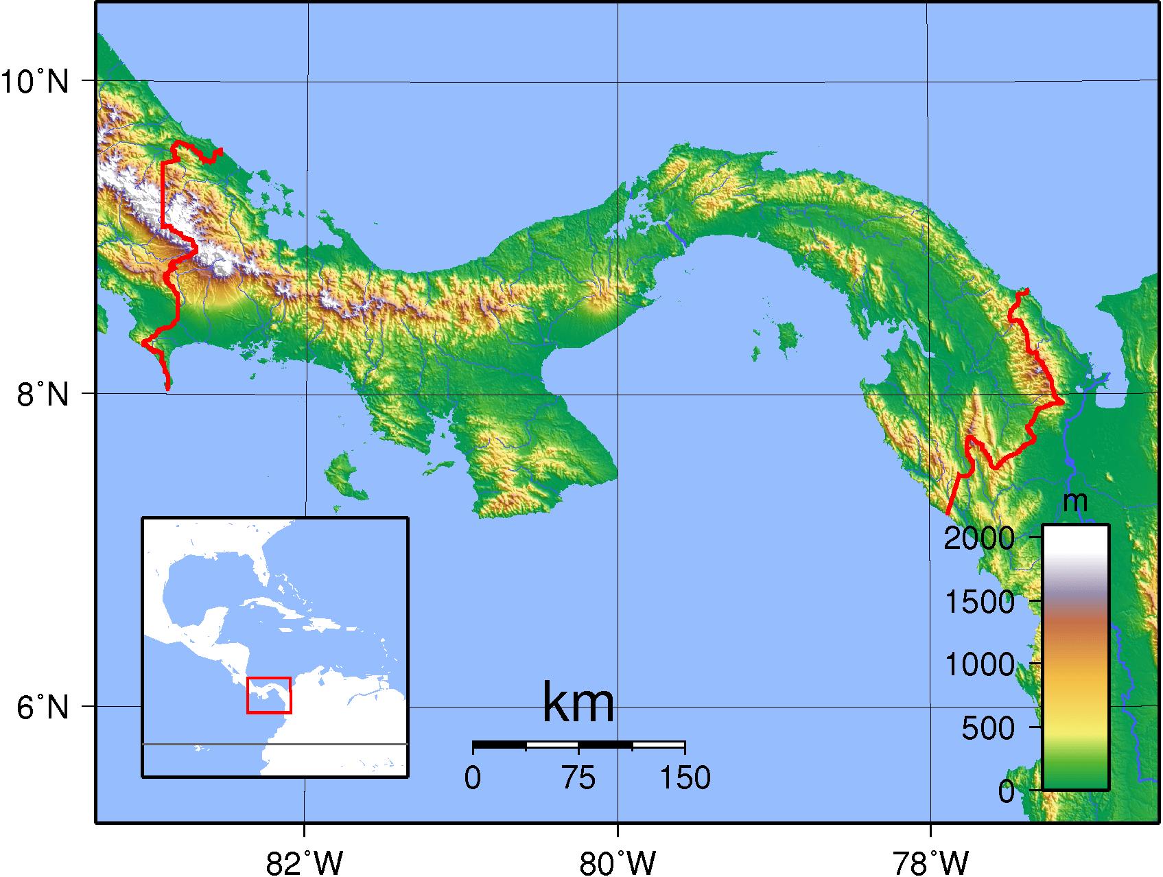 Mapa fizyczna Panamy