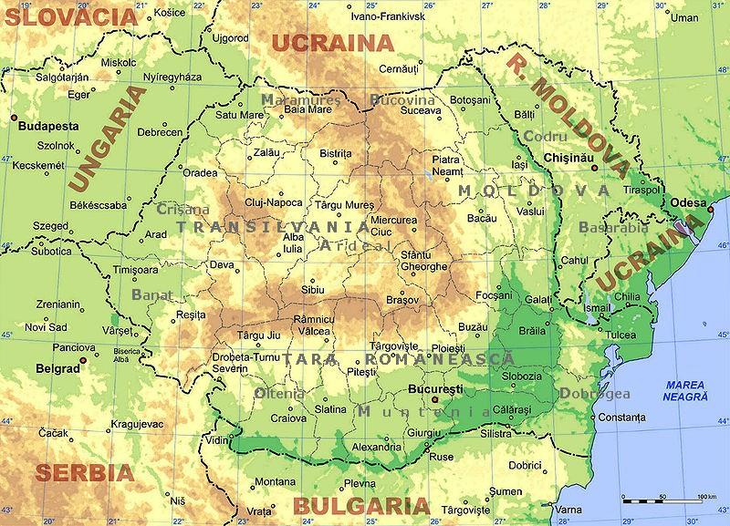 Mapa fizyczna Rumunii