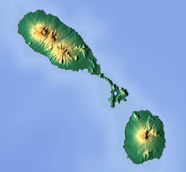 Mapa fizyczna Saint Kitts i Nevis