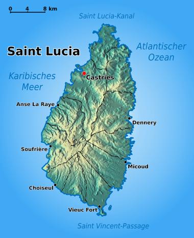 Mapa fizyczna Saint Lucia