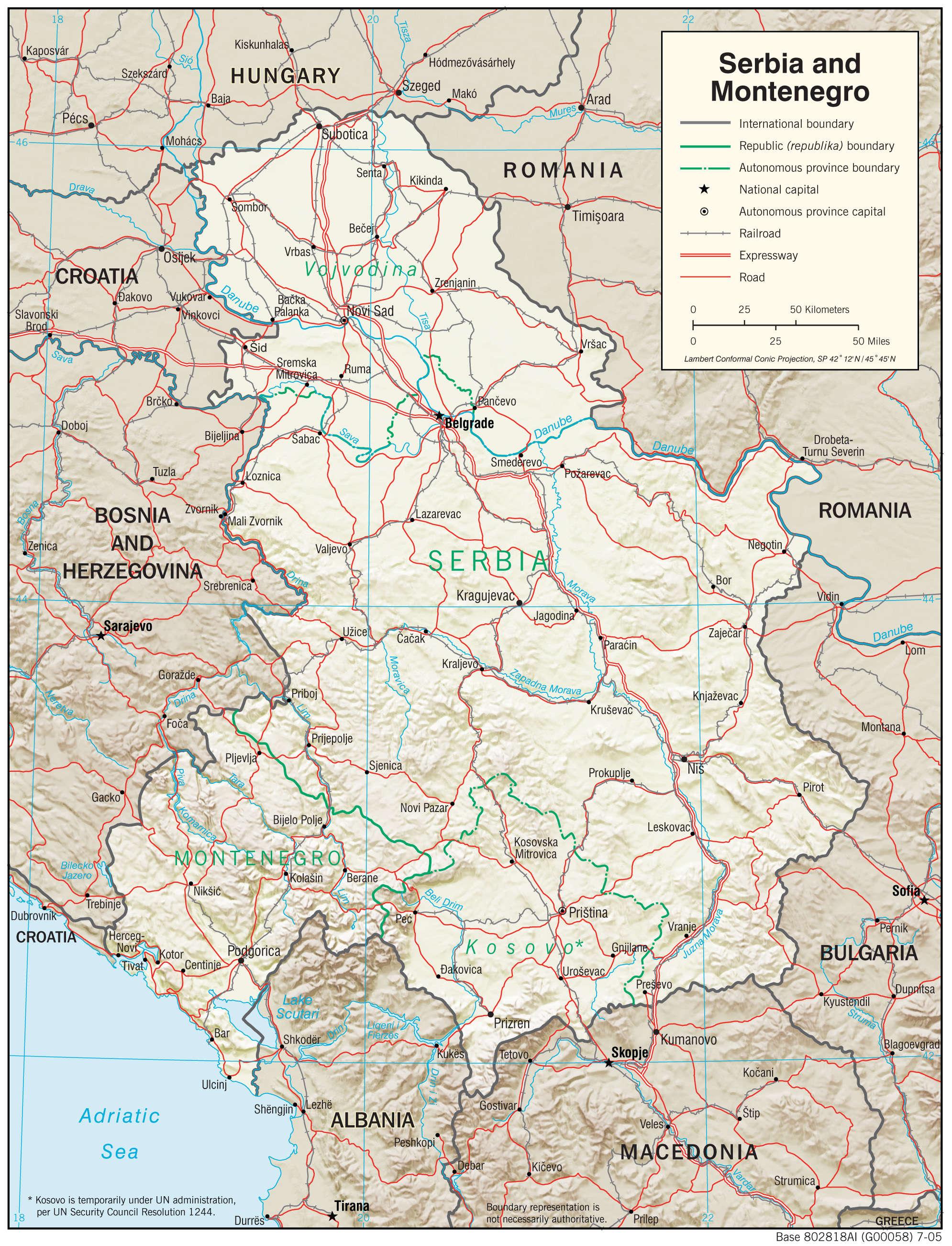 Mapa fizyczna Serbii